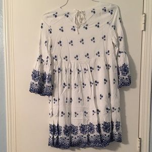 Blue and white embroidered mini dress